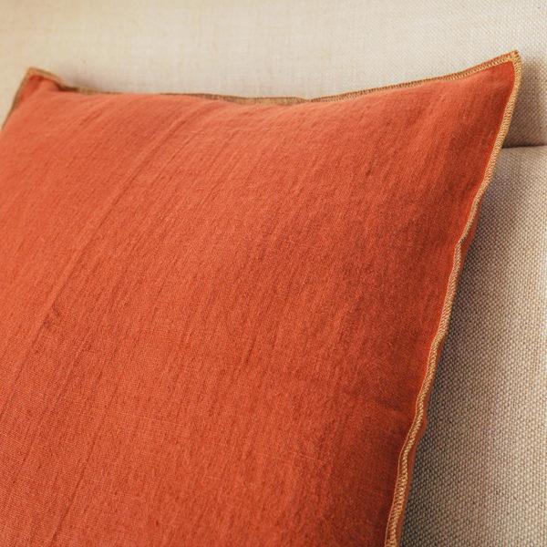 coussin lin orange